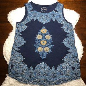 Lucky Brand Floral Print Navy Sleeveless Top